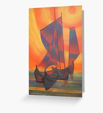 Red Sails in the Sunset Cubist Junk Abstract Greeting Card