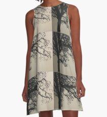 Black & White Tree Silhouette A-Line Dress