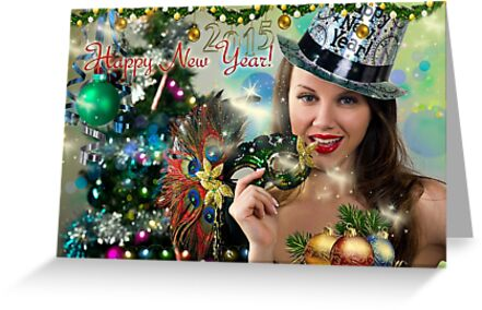 sexy santas helper happy new year postcard wallpaper template 2 by anton oparin