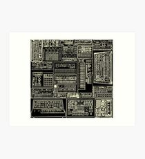 Synthesizer Fan Composition white Art Print
