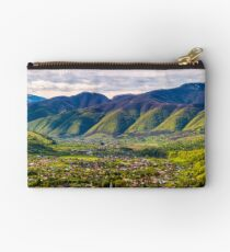 village in mountain valley Studio Pouch