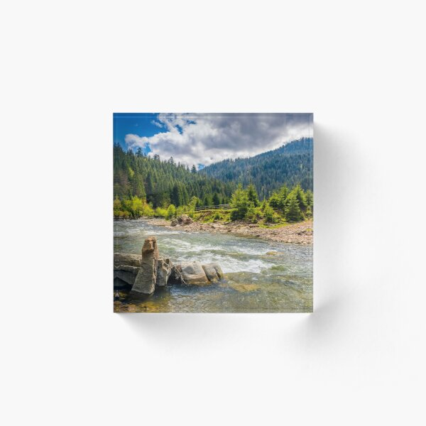 River among the forest in picturesque mountains in springtime Acrylic Block