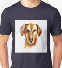Azawak Greyhound. Watercolor hand drawn illustration on white background. Unisex T-Shirt