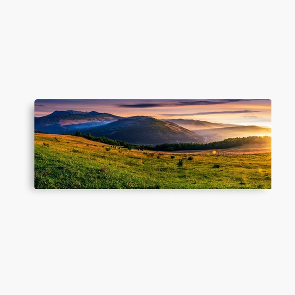 panorama of rural fields in foggy mountains at sunrise Canvas Print