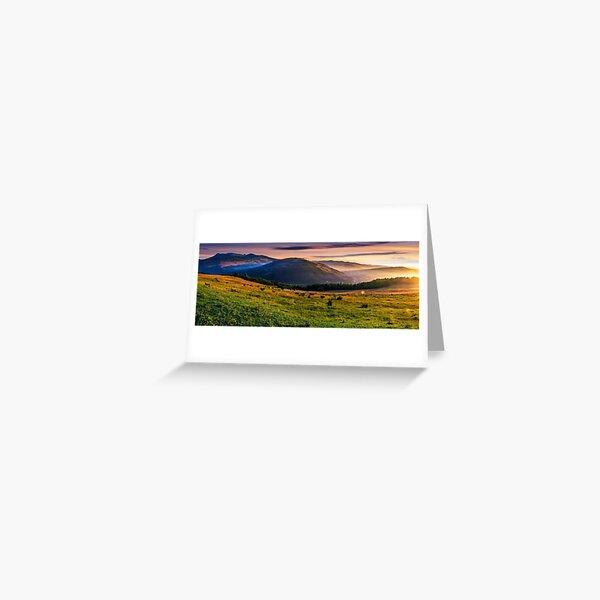 panorama of rural fields in foggy mountains at sunrise Greeting Card