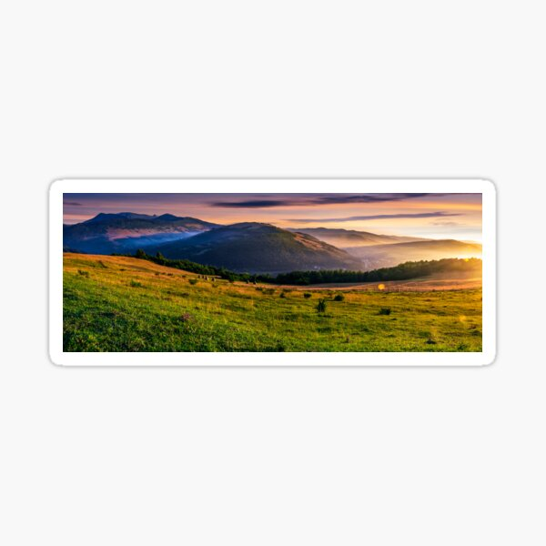 panorama of rural fields in foggy mountains at sunrise Sticker