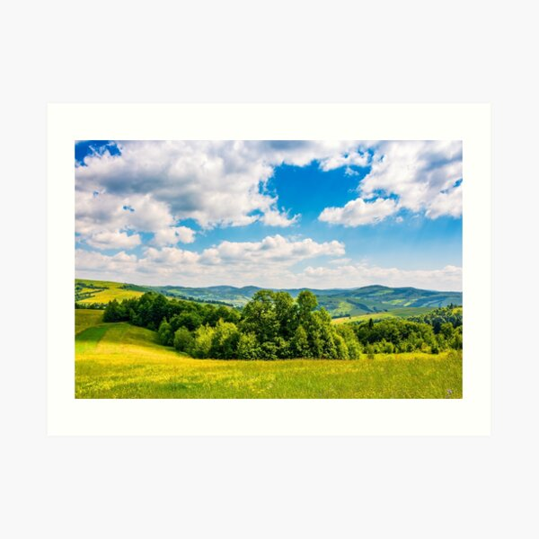 countryside summer landscape in mountains Art Print