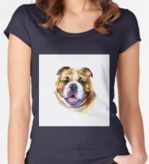 Colored English bulldog's head. Watercolor picture. Women's Fitted Scoop T-Shirt