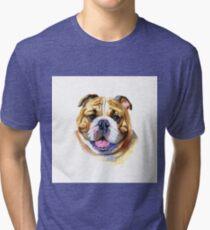 Colored English bulldog's head. Watercolor picture. Tri-blend T-Shirt