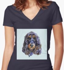 English cocker spaniel. Animal, dog. Watercolor illustration isolated on white background Women's Fitted V-Neck T-Shirt
