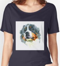 Watercolor closeup portrait of large Moscow Watchdog breed dog isolated on white background. Women's Relaxed Fit T-Shirt
