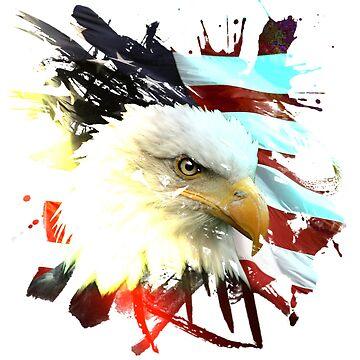 America Eagle Splash Paint by TeeGrayWolf