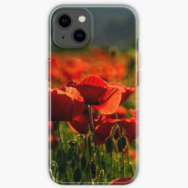 poppy flowers field at sunset iPhone Soft Case