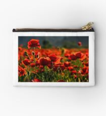 poppy flowers field at sunset Studio Pouch