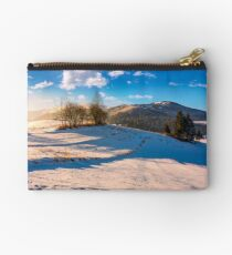 foggy morning in winter mountains Studio Pouch