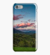 countryside landscape in mountains at dusk and moonrise iPhone Case/Skin