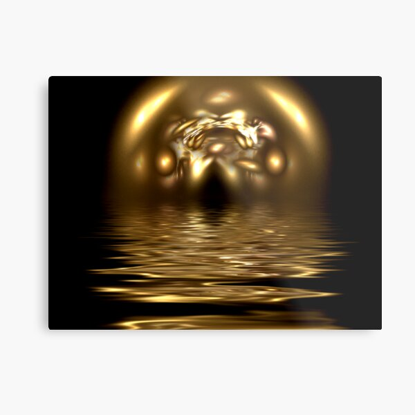 Abstract Gold Reflection Metal Print