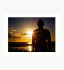 Iron Man at Sunset, Crosby Beach Art Print
