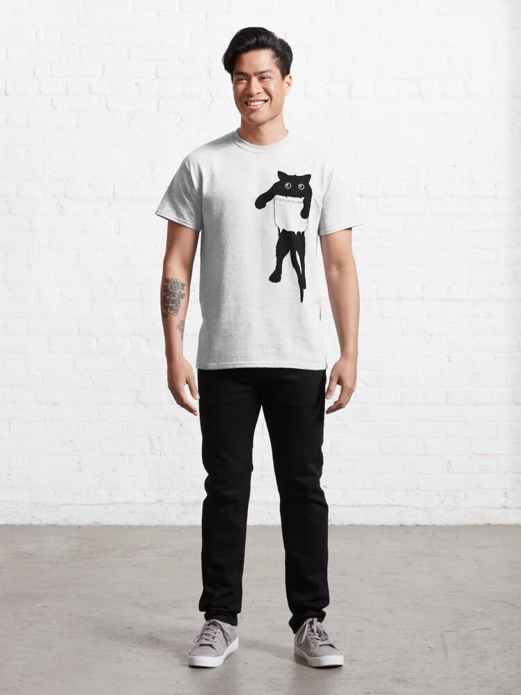 Alternate view of Hang loose black cat pocket art Classic T-Shirt