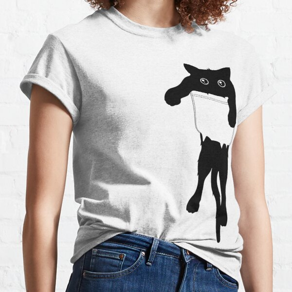 Hang loose black cat pocket art Classic T-Shirt