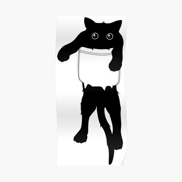 Hang loose black cat pocket art Poster