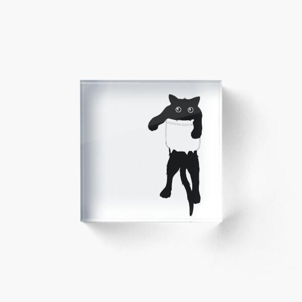Hang loose black cat pocket art Acrylic Block