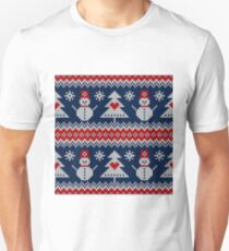 Snowman, Christmas tree, knitted, winter, holiday, vintage seamless pattern T-Shirt