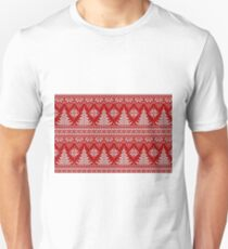 Snowflakes, Christmas tree, red knitted, vintage, seamless pattern T-Shirt