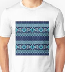 Snowflakes, Christmas tree, blue knitted, vintage, seamless pattern T-Shirt