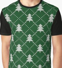 Christmas tree, green knitted, winter, holiday, vintage, seamless pattern Graphic T-Shirt
