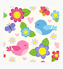 Birds and Flowers, spring, seamless background for kids Photographic Print