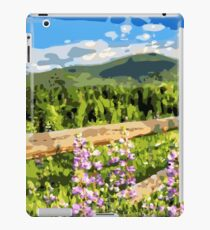 Floral Mountain Landscape with Fence iPad Case/Skin