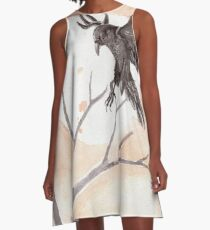 Autumn Raven Watercolor Painting A-Line Dress