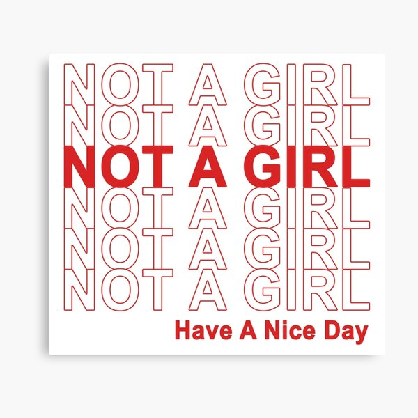 Not A Girl, Have A Nice Day! Canvas Print