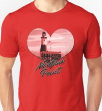 Lighthouse Souvenir Montauk Point The End Pink Heart Tshirt Unisex T-Shirt
