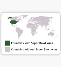 Color coded World Map of Super Bowl Winners Sticker