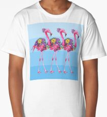 A Small Flock of Flamingos Long T-Shirt