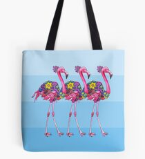 A Small Flock of Flamingos Tote Bag