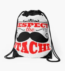Incredible mustache. Typography. Respect the stache Drawstring Bag