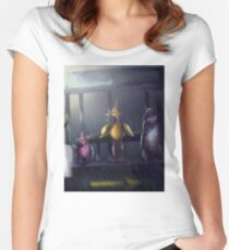 """Bird Stop,"" Digitally Colored Marker Drawing Women's Fitted Scoop T-Shirt"