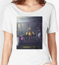 """""""Bird Stop,"""" Digitally Colored Marker Drawing Women's Relaxed Fit T-Shirt"""