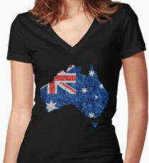 Australia Flag and Map Burlap Linen Rustic Jute Women's Fitted V-Neck T-Shirt