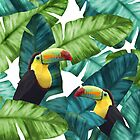 Toucans Tropical Banana Leaves Pattern by oursunnycdays