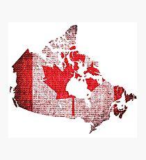 Canada Flag and Map Burlap Linen Rustic Jute Photographic Print