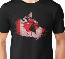 Canada Flag and Map Burlap Linen Rustic Jute Unisex T-Shirt