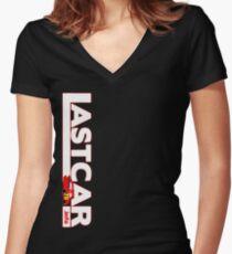 LASTCAR Vertical Black Tee Women's Fitted V-Neck T-Shirt