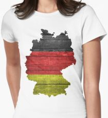 Germany Flag and Map Burlap Linen Rustic Jute Women's Fitted T-Shirt