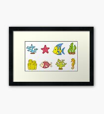 Cartoon Seabed Icons Framed Print