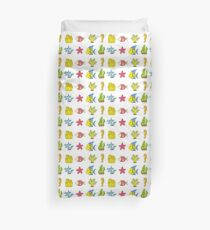 Cartoon Seabed Icons Duvet Cover