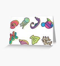 Coral Reef Icons 3 Greeting Card